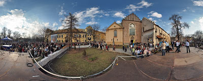 Kraków - the first anniversary of Pope's death.  Click to view this panorama in new fullscreen window