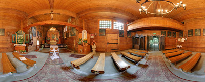 Inside the 16th century wooden church of St. Philip and St. James the Apostles in Sękowa.  Click to view this panorama in new fullscreen window