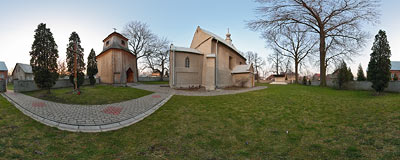 St. Andrew's church in Sieciechowice.  Click to view this panorama in new fullscreen window