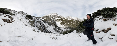 Siklawa - the largest waterfall of the Polish Tatra Mountains.  Click to view this panorama in new fullscreen window