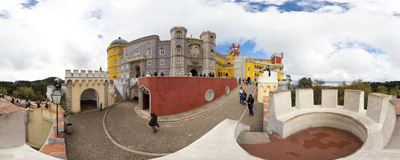 On the walls of Palácio da Pena in Sintra, Portugal.  Click to view this panorama in new fullscreen window