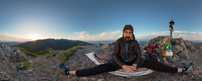 Watching the sunrise on the summit of Sivý vrch (1805 m) in Slovak Tatra mountains.  Click to view this panorama in new fullscreen window