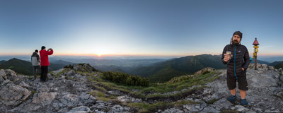 Watching the sunset on the summit of Sivý vrch (1805 m) in Slovak Tatra mountains.  Click to view this panorama in new fullscreen window