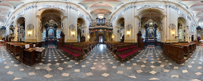 "The 18th century Baroque church of St. Michael and St. Stanislaus, called ""Na Skałce"" (""On the Rocks"").  Click to view this panorama in new fullscreen window"