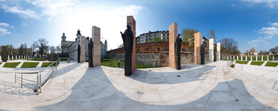Altar of the Three Millennia built on the Pauline monastery grounds in 2008.  Click to view this panorama in new fullscreen window