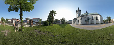 Church of Saint Simon and Saint Jude the Apostles in Skawina.  Click to view this panorama in new fullscreen window
