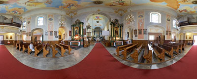 Church of St. Simon and Jude the Apostles in Skawina.  Click to view this panorama in new fullscreen window