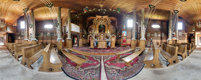 Inside the 18th-century wooden church of St. Joachim in Skawinki (Wadowice County, Southern Poland).  Click to view this panorama in new fullscreen window