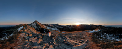 An autumn sunset watched from the summit of Skrajna Turnia (2097 m), the westernmost peak of the main ridge of the High Tatra Mountains.  Click to view this panorama in new fullscreen window