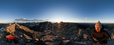 Watching a November sunset on the summit of Skrajny Granat (2226 m) in the Tatra Mountains.  Click to view this panorama in new fullscreen window