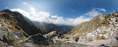 On the trail leading to the summit of Skrajny Granat (2226 m), Polish Tatra Mountains.  Click to view this panorama in new fullscreen window