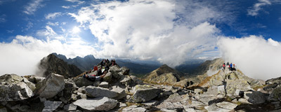 On the summit of Skrajny Granat (2226 m), Polish Tatra Mountains.  Click to view this panorama in new fullscreen window