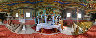 Inside the wooden Greek Orthodox church of Saints Cosmas and Damian (1837) in Skwirtne.  Click to view this panorama in new fullscreen window