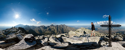 On the summit of Slavkovský štít (2452 m) in Slovak High Tatras.  Click to view this panorama in new fullscreen window