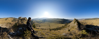 On the ridge of Smolegowa Skała in the Małe Pieniny mountain range.  Click to view this panorama in new fullscreen window