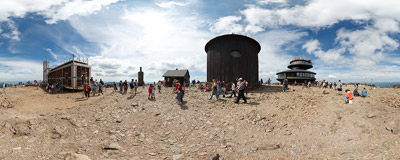 On the summit of Śnieżka (1602 m).  Click to view this panorama in new fullscreen window