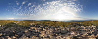 On the summit of Śnieżnik (1425 m).  Click to view this panorama in new fullscreen window