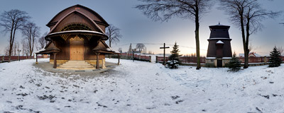Early winter dusk sets down on a church in Sobolów.  Click to view this panorama in new fullscreen window