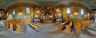 Inside the 16th century wooden church of All Saints in Sobolów.  Click to view this panorama in new fullscreen window