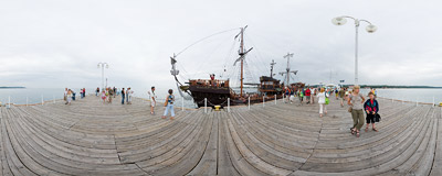 On the pier in Sopot.  Click to view this panorama in new fullscreen window