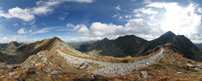 Spálene sedlo (2055 m): the wide pass between the summits of Pachoľa and Spálená in the main ridge of the Western Tatra mountains.  Click to view this panorama in new fullscreen window