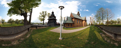 Spytkowice - the wooden church of the Immaculate Conception of the Virgin Mary (1758).  Click to view this panorama in new fullscreen window