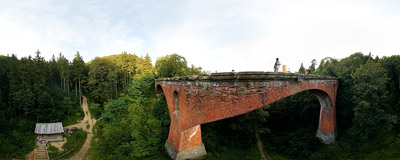 Old railway viaduct in Srebrna Góra.  Click to view this panorama in new fullscreen window