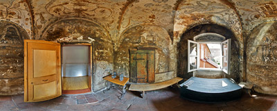 A cell of a nun in the Benedictine monastery in Staniątki; its walls are covered with original 17th century paintings.  Click to view this panorama in new fullscreen window
