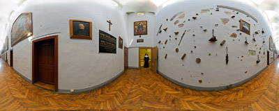 A narrow corridor of the Benedictine monastery in Staniątki.  Click to view this panorama in new fullscreen window