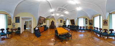 The representation room of the Benedictine monastery in Staniątki.  Click to view this panorama in new fullscreen window