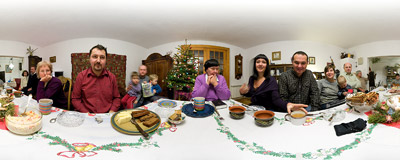 Our family Christmas dinner 2007.  Click to view this panorama in new fullscreen window