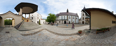 The courtyard of the Convent of Poor Clares in Stary Sącz.  Click to view this panorama in new fullscreen window