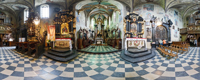 Inside the church of the Holy Trinity and St. Clare in Stary Sącz.  Click to view this panorama in new fullscreen window