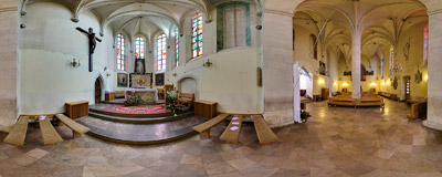 Inside the church of St. Peter and St. Paul in Stopnica.  Click to view this panorama in new fullscreen window