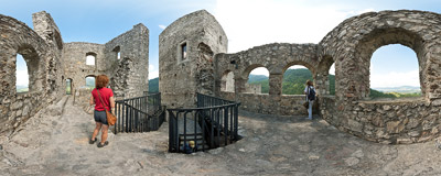 A walk through the ruins of a 14th-century Strečno Castle in Northern Slovakia.  Click to view this panorama in new fullscreen window