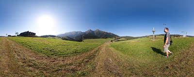 Belianske Tatry seen from Strednica meadows.  Click to view this panorama in new fullscreen window