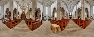 Inside the Basilica of St. Peter and St. Paul in Strzegom.  Click to view this panorama in new fullscreen window