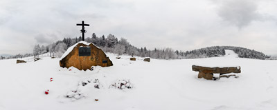 A snow-covered WW2 partisans' monument on Sucha Przełęcz between Kamiennik and Łysina in the Beskid Myślenicki mountain range.  Click to view this panorama in new fullscreen window