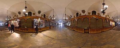 Inside the Cloth Hall (Sukiennice) on an out-of-season morning.  Click to view this panorama in new fullscreen window