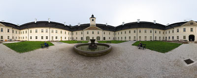 Svätý Anton - a Baroque chateaux, the former residence of the aristocratic Coburg family.  Click to view this panorama in new fullscreen window