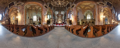 Inside the 15th-century cathedral of St. Stanislaus and St. Venceslaus in Świdnica, the Lower Silesia region of Poland.  Click to view this panorama in new fullscreen window