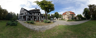 The mid-17th century wooden Church of Peace in Świdnica, Silesia.  Click to view this panorama in new fullscreen window