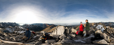 On the summit of Świnica (2301 m) in the Tatra Mountains.  Click to view this panorama in new fullscreen window