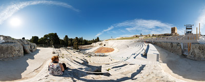 The Greek theatre on the slopes of the Temenite hill, overlooking the modern city of Syracuse in southwestern Sicily.  Click to view this panorama in new fullscreen window