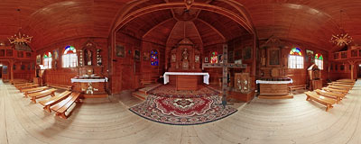 Interior of the wooden church in Szczawa (1958-1963).  Click to view this panorama in new fullscreen window