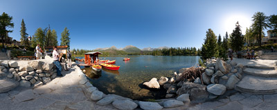 Boat renting on the shore of Štrbské pleso in Slovak Tatra Mountains.  Click to view this panorama in new fullscreen window