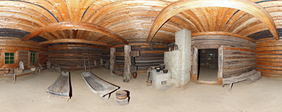 Inside the 19th century oil-press in the open-air museum in Szymbark.  Click to view this panorama in new fullscreen window