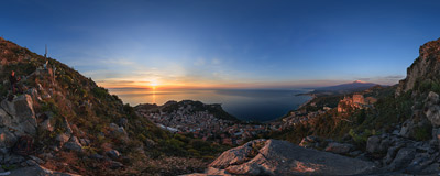Watching the sunrise from the hills high above Taormina in eastern Sicily.  Click to view this panorama in new fullscreen window