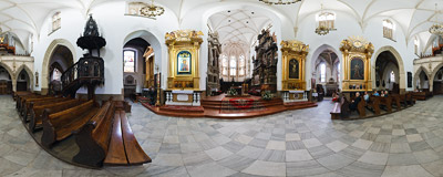 Inside the Cathedral of the Nativity of the Blessed Virgin Mary in Tarnów.  Click to view this panorama in new fullscreen window
