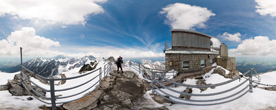 Summit of Lomnický štít in the Tatra Mountains.  Click to view this panorama in new fullscreen window
